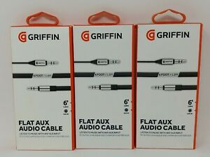 Lot of 3 - Griffin Flat Aux Auxiliary Audio Cable - 6 feet long