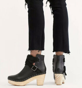 NEW FREE PEOPLE Sz 39 9 BUNGALOW CLOG BOOT ANKLE BOOTIE BLACK NWOB