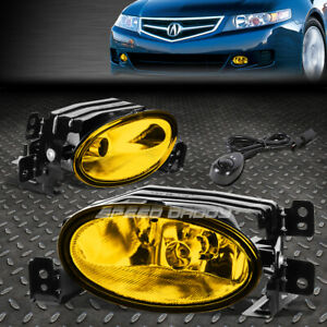 FOR 06-08 ACURA TSX AMBER LENS FRONT BUMPER DRIVING FOG LIGHT LAMPS W/SWITCH
