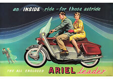 Late 1950's early 1960's Ariel Leader 250cc motorcycle poster