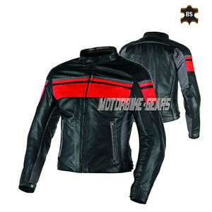 Classic motorbike leather jacket with red on chest and black leather ce armours