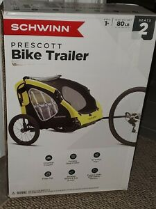 Brand New Schwinn Prescott 2 Passenger Seat Child Bike Trailer with Bug Screen