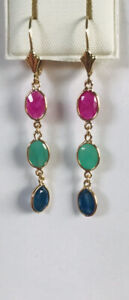 14k Solid Yellow Gold Oval Emerald & Sappier & Ruby Dangle Earring 2.35GM5.28CT