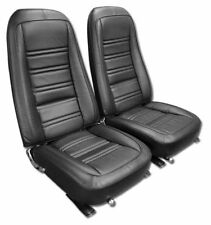 1976-1978 Corvette Black DRIVER Leather and Vinyl Seat Covers 481120