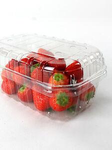 400 x Clear PET 1 Pound Fruit Punnet + 400 x 25mm Lid