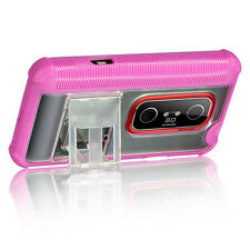 HTC EVO 3D SPRINT PCS FUSION HYBRID CASE WITH KICKSTAND BLACK/PINK