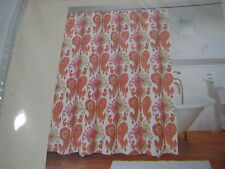 New Newport Home JOURNEY Fabric Shower Curtain - Pink Orange Taupe Ivory Paisley