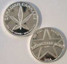 1/10th Troy Oz Pure .999 solid silver Canadian Cannabis Coin w/free S&H in U.S.A