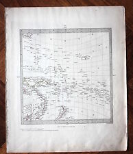 Original antique map PACIFIC ISLANDS, AUSTRALIA, NEW ZEALAND, SDUK, c.1845