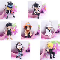 7pcs Anime ONE PIECE Key Ring Pendant PVC Action Figure Toy Keychain Gift