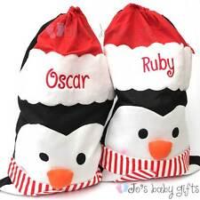 Grande Bordado Personalizado Navidad Pingüino Saco Bolsa, Regalo, Navidad Stocking