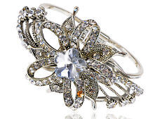 Retro Bridal Flower Clear Crystal Rhinestone Gem Cuff Bracelet Hot Bangle