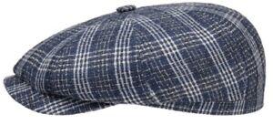 STETSON Hatteras 59cm Blue / White Flat Cap Mottled L 7 3/8 NEWSBOY Gatsby 8/4