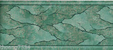Metallic Patina Green Foil Marble Vein Crack Water Abstract Wall paper Border