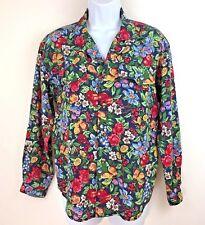 LIz Claiborne Womens Floral Button Down Tuck in Long Sleeve Shirt Size Petite M