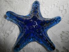 Blue Vaseline glass sea shell starfish uranium paperweight cobalt fish tank art