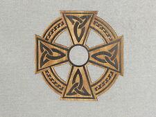 "Rustic Engraved Wood Celtic Cross 12"" x 12"" Wall Hanging Art"
