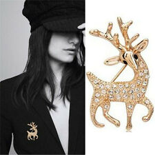 High Quality Exquisite Sika Deer Brooches Shining Rhinestone Pins Jewelry GE