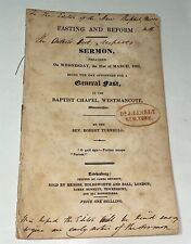 Rare Antique Fasting & Reform Sermon Rev. Robert Turnbull! Owned NY Doctor! 1832