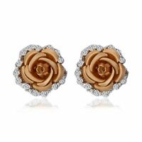 1Pair Fashion Women Crystal Rhinestone Ear Stud Rose Flower Earrings Jewellery