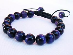 Gemstone Men's Macrame bracelet all 10mm Natural Tiger Eye beads Blue, Purple