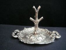 English Sterling Ring Holder/Stand W/Trinket Tray - C 1939 Most Unusual