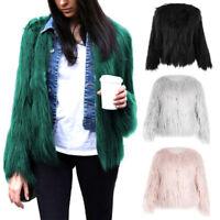 Ladies Women's Winter Warm Fleece Fur Fluffy Overcoat Jacket Shaggy Outwear Coat