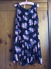 Ladies Long Vest Top Dress Navy Floral Size 14-16
