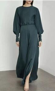 NWT BCBG MAXAZRIA SATIN DRAPED BACK MAXI DRESS SIZE 4 SMALL $428