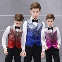 Kids Boys Children Sequin V-neck Waistcoat Show Wedding Costume Vest Pant Shirts