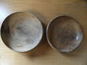 2 x Vintage Carved Wooden Bowls Possibly Walnut