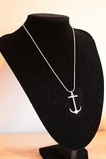 UK New Silver Plated Sailor Anchor 18inch Nautical Necklace With Charm (041)