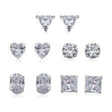 925 Sterling Silver Cubic Zirconia CZ Set of 5 Stud Solitaire Earrings Ct 20.1