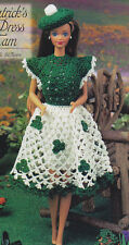 Crochet Pattern ~ FASHION DOLL ST. PATRICK'S DAY DRESS & TAM ~ Instructions