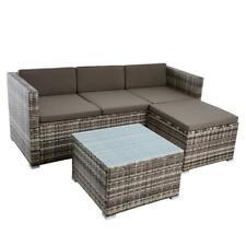 Rattan Lounge Sitzgruppe Gartenmöbel Set Couch 3-Sitzer Rattanmöbel Beige-Braun