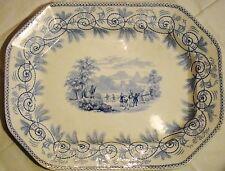 Staffordshire Transferware Thomas Godwin Seasons Blue Transfer Meat Dish Platter