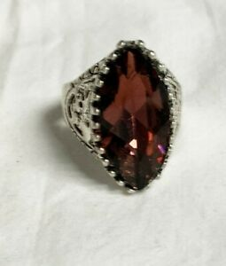 Large Stone Cocktail Ring Stainless Steel 6.5 8 10 Free Gift Box  New Wine Red