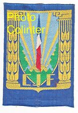 Ecusson de poitrine : Chantiers de Jeunesse de France - tissé sur fond bleu