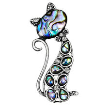 Cute Abalone Shell Cat Brooch Pinnquetdgenim Coat Animal Brooch Gifts LJG