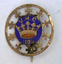 Antique Victorian Yellow Gold Enamel Royal Arcanum VMC 1105 FOB Lapel Pin #61