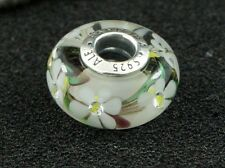 Pandora Sterling Silver White Flower Murano Glass Charm