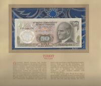 Most Treasured Banknotes Turkey 50 Lirasi 1970 UNC P 188a.1 UNC Low # 004334