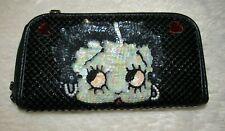 BETTY BOOP Black Mesh Sequin Wallet / Purse-Bag Rhinestone Zip NWOT