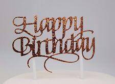 HAPPY BIRTHDAY CAKE PICK TOPPER DECORATION BRONZE GLITTER  CALLIGRAPHY