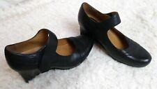 Earthies Savona Black Leather Shoes Mary Janes Wedge Heels Size 7.5 Comfort Shoe