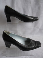 VAN DAL WOMENS   BLACK SLIP ON LEATHER MID HEEL COURT SIZE:5.5/38.5(WHS278)