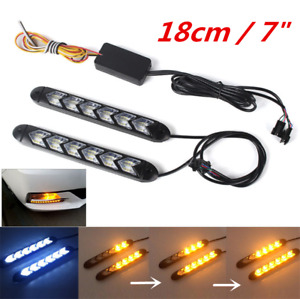 7inch LED Car White/Amber Indicator Driving Light Sequential Flowing Turn Signal