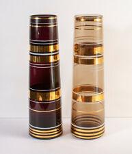 Pair of Vintage Borske Sklo Tapered Glass Vase Gold Gilded Bands - Purple, Brown