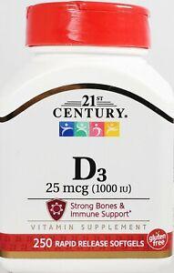 21st Century Vitamin D3 25 mcg (1000 IU) 250 Rapid Release Softgels -Exp 11-2021