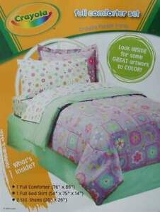 PURPLE PARTY BY CRAYOLA FLORAL FULL COMFORTER SHAMS BEDSKIRT 4PC BEDDING SET NEW